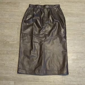 Lord & Taylor Leather Maxi Pencil Skirt Size 10